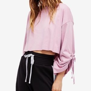 Free People crop tie sleeve pullover